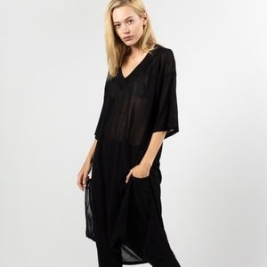 ONE SIZE S-XL Black Sheer Tunic